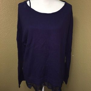 Lane Bryant Sz 18/20 Purple Pullover Sweater Lace